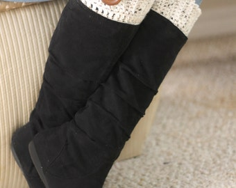 Ivory Boot Cuffs with Wooden Button