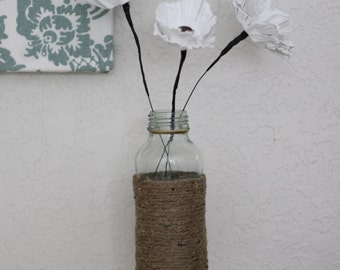 Egg Carton Flowers- White w/ Button Centers in Twine Wrapped Bottle- Set of 3