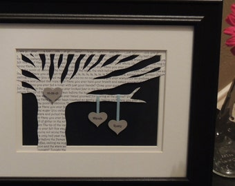 Personalized Wedding Gift - Wedding Song Lyrics 3D Paper Tree - 8x10 FRAMED