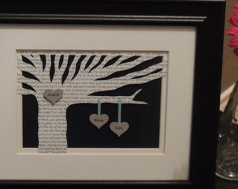 Personalized Wedding Gift - Wedding Song Lyrics 3D Paper Tree - 8x10 FRAMED