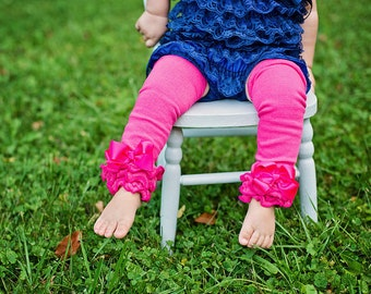 Hot Pink or RED Leg Warmers Baby Outfit  leggings pants with cotton ruffles Valentines