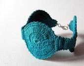 Crochet bracelet turquoise, summer accessories in cotton, women sea fashion, minimal style, mediterranean, cotton jewelry - basic collection