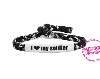 Personalized Military Support Bracelet - Army, Air Force, Navy, Soldier Wife, Girlfriend, Fiance (women, teen girl)