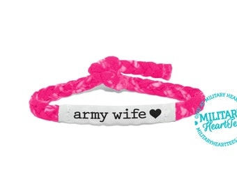 Customizable Military Support Bracelet - Army, Air Force, Navy, Soldier Wife, Girlfriend, Fiance (women, teen girl)