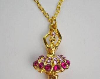 Pink Rhinestone Ballerina Ballet Dancer Charm Gold Tone Necklace Beau Flutterby