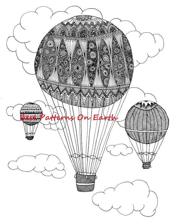 Zen Coloring Pages Pdf : Hot air balloon coloring page zen zendoodle