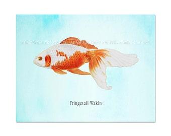 Goldfish Canvas Print, Goldfish Art, Beautiful Goldfish in Sky Blue Background Ready to Hang Art