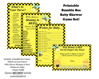 Mommy to Bee Baby Shower Game Pack, Bumble Bee Theme Baby Shower, Bee Baby Shower Game, Mommy to Bee Theme Printable Baby Shower Game