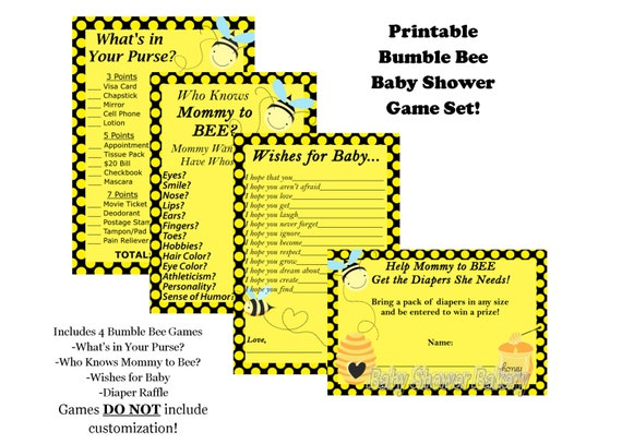 Mommy To Bee Baby Shower Game Pack Bumble Theme Printable