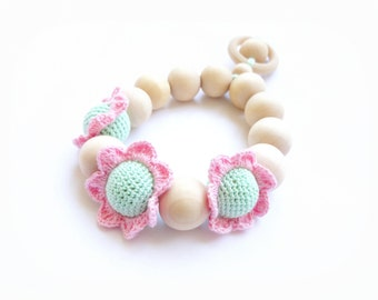 Baby teething ring toy Crochet Beads Teether with Flower Beads Pink Mint green Motor Development Gift for Baby First toy - CHOOSE YOUR COLOR
