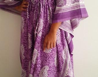 Maternity And Feeding Gown/ Purple Paisley Kaftan Dress, Printed  Maxi Dress, Cotton Caftan, Summer Sun Dress,  Gift,  Moms to Be,Code 04