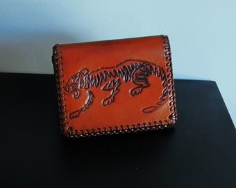 wallet. leather wallet. tiger wallet. vintage wallet. hand tooled wallet. Jerry. distressed mexican leather wallet. gift for men.