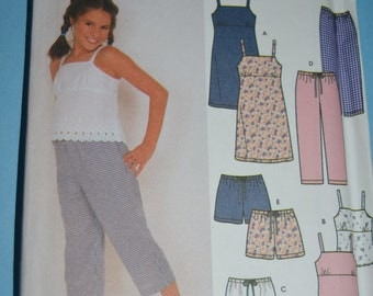 Simplicity 9611 Girls Dress or Top Skirt Pants and Shorts Sewing Pattern - UNCUT - Sizes 7 - 16