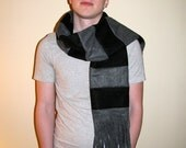 Black, Gray Striped Fleece Scarf - Men's Long Winter Scarf - Gray and Black Stripes Winter Fleece Scarf with Fringe - Mens Accessories
