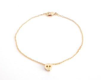 Dainty Bracelet, Tiny Gold Skull, Delicate Fine Gold Chain, Contemporary Minimalist Jewellery, Available In Silver