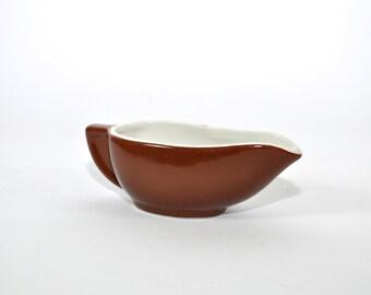 Brown Vintage Gravy Boat, Hall Creamer, Ceramic Creamer, Thanksgiving Table, Vintage Gravy Boat, Dressing Bowl, Vintage Kitchen