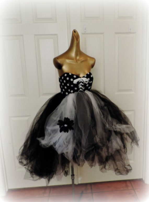 robe tutu pois pour femme tutu gothique goth robe pois. Black Bedroom Furniture Sets. Home Design Ideas