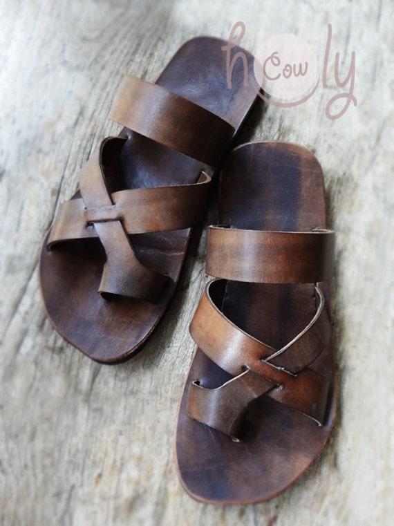 Orlginal Simple Design Jesus Sandals Handmade Leather ... |Hippie Mens Leather Sandals