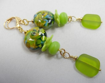 """Green Multicolored Swirl with Apple Green Lampwork and Seaglass Beaded Earrings - Goldtone 2.5"""" Drop"""