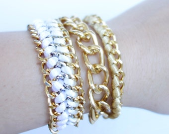Arm Candy Gold SET - White & Ivory satin cord braided gold double chain