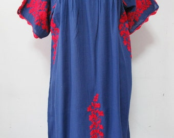 Embroidered Mexican Dress Cotton Tunic In Blue Boho Dress Bohemian Style