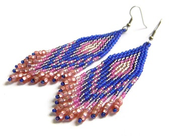 Violet and pink fringe beaded earrings