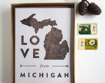 Love from Michigan • Boxed Set of 8 Cards & Kraft Envelopes