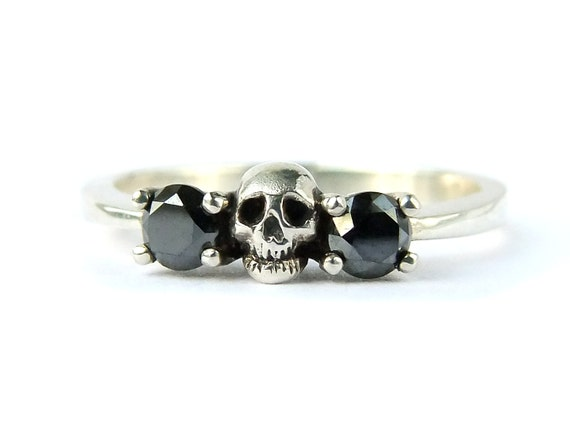 Skull Wedding Set White Gold Band Black Diamond Victorian Engagement Love to Death Goth Psychobilly Wedding Band Steampunk Ring All Sizes