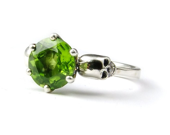 Skull Engagement Ring with Natural Green Peridot in Sterling Silver - All Sizes