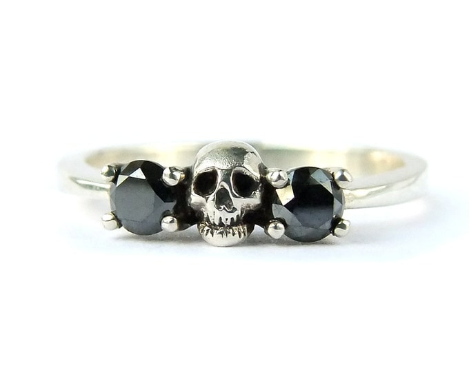 RESERVED FOR ERIKA Payment Plan Total Price 240 Euro Sterling Skull Ring with Lab Created Diamonds Size 6.75