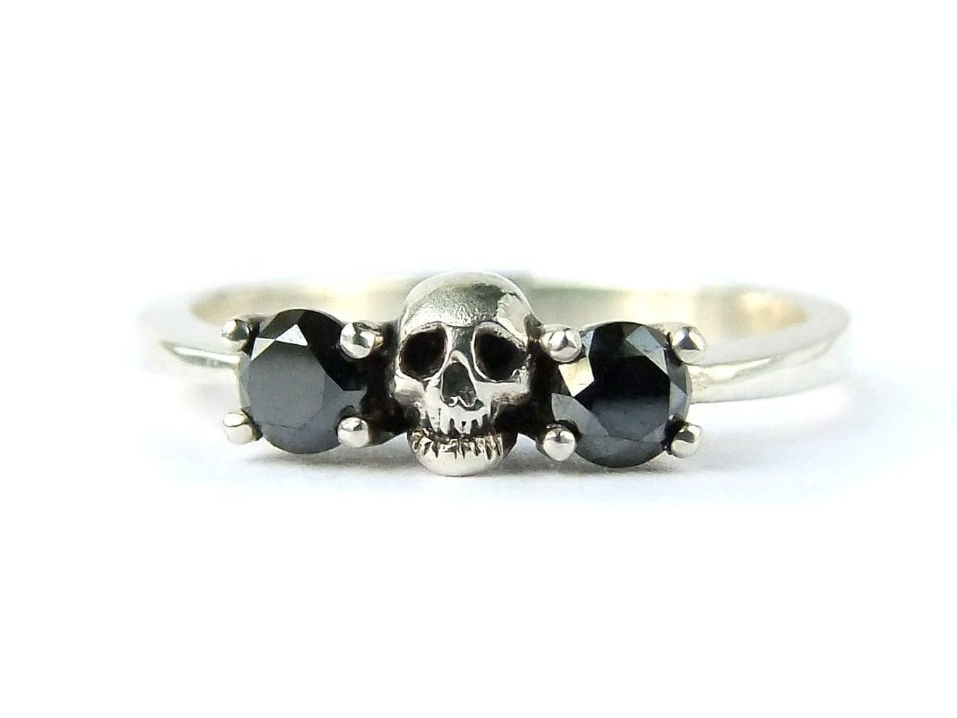 Skull Wedding Set White Gold Band Black Diamond Victorian