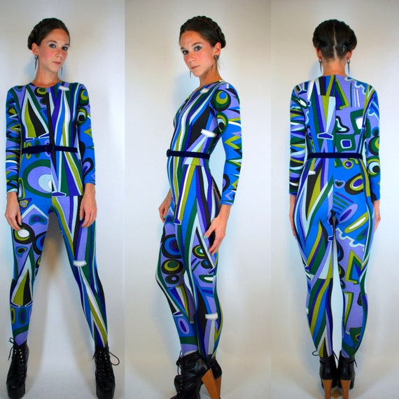 Vintage 90s Psychedelic Knit Op Art Bodysuit. Graphic Footed
