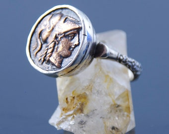 Ancient Coin Ring - Athena Goddess of Strength - Sterling Silver