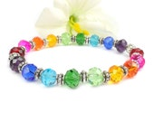 Multi Color Crystal Stretch Bracelet, LGBT Pride Rainbow Jewelry