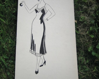 1950's Fashion Sketch Original Artwork Black and White Ink Watercolor Lingerie