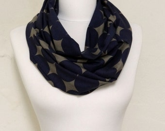 Circle Pattern Jersey Infinity scarf, Circle scarf, Polka Dot Loop scarf, scarves, springng - fall - winter fashion Sale