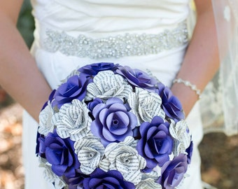 Book and card stock paper flower bouquet