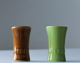 two vintage Jim Beam shot glasses from 1982 and 1979 fall colors gift for him