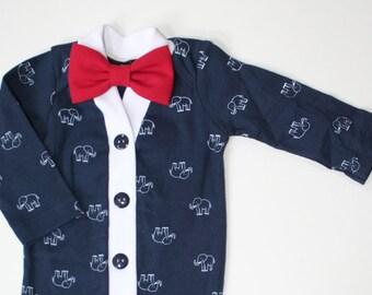 Baby Boy Cardigan, Baby Cardigan and Bow Tie Set, Blue Elephant Cardigan, Nautical One Piece Set, Baby Bodysuit, Baby Sweater, Baby Outfit