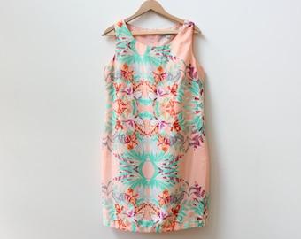Tropical Botanical Print Shift Dress