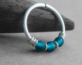 Tidal, 20g Nose Ring, One Hoop, Cartilage Hoop Earring, Sterling Silver, Titanium or Niobium Hoop, You Choose the Diameter, Teal Earring