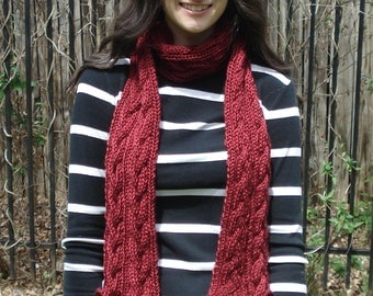 Shiny Maroon Braided Cable Scarf