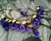 gold sunflower purple amethyst jewelry set drop bead necklace & earrings statement fashion 19 inches chunky bib trendy gift idea for her