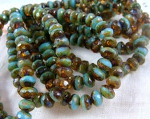Czech Beads, 5x3mm Rondelle, Czech Glass Beads - Turquoise & Amber (R5/N-1030) - Qty. 30