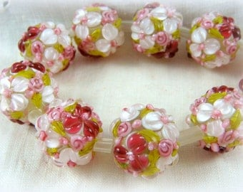 Lampwork Beads - White and Fuchsia Floral Lamp work Beads, Pink Flower Bead, Pink Glass Beads, Fuchsia Pink Beads - 12mm - Qty. 2