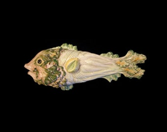 Vintage Very Large Majolica-Like Fish Covered Serving Dish - Italy