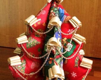 Padded fabric little Christmas tree, Christmas decoration