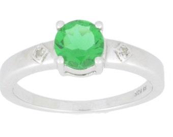 1 Ct Emerald & Diamond Round Ring .925 Sterling Silver Rhodium Finish