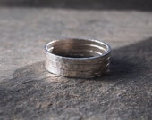 silver rings, set of 3 unisex sterling silver stacking, thumb, knuckle rings handmade to order by arcjewellery UK