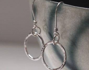 silver hoop earrings, silver hoops, earrings hammered sterling silver hoops, silver jewellery handmade by ARC Jewellery UK